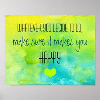 Cita inspirada en felicidad póster