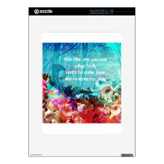 Cita inspirada entre corales iPad calcomanía