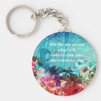 Cita inspirada entre corales llavero redondo tipo pin
