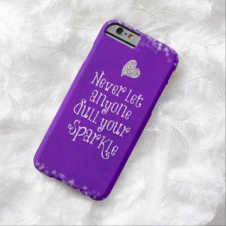 Cita inspirada femenina púrpura de la chispa funda para iPhone 6 barely there
