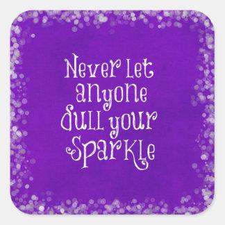 Cita inspirada femenina púrpura de la chispa pegatina cuadrada