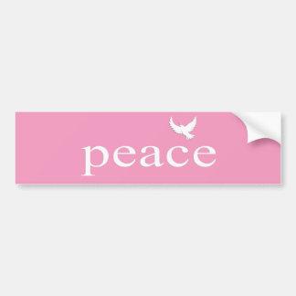 Cita inspirada rosada de la paz etiqueta de parachoque