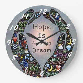 Cita inspirada sobre esperanza y sueños reloj redondo grande