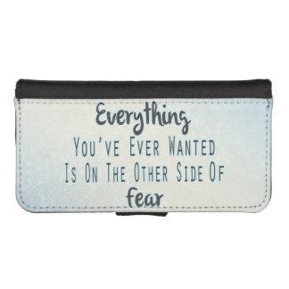 Cita inspirada, tipografía azul sobre deseo funda tipo billetera para iPhone 5
