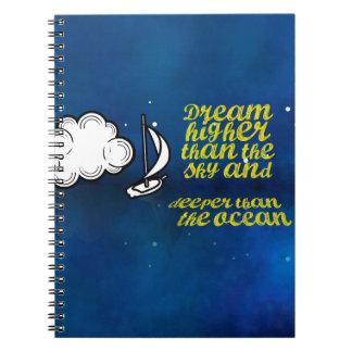 Cita inspirada, velero y cielo nocturno libretas espirales