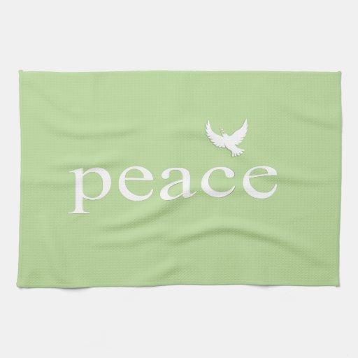 Cita inspirada verde de la paz toallas