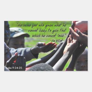 Cita inspiradora de Jim Elliot del misionario Pegatina Rectangular
