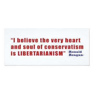 """Cita libertaria conservadora de presidente Reagan Invitación 4"""" X 9.25"""""""
