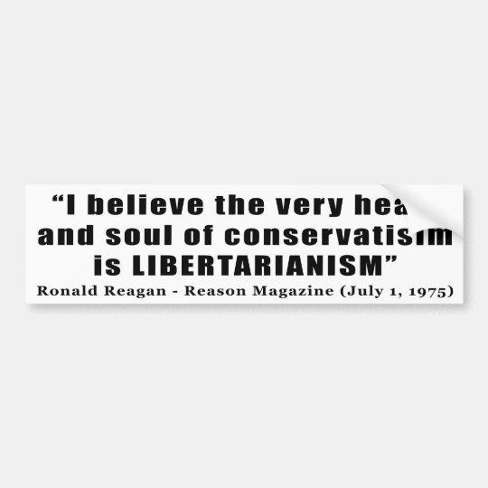 Cita libertaria del conservadurismo de Ronald Reag Pegatina Para Auto