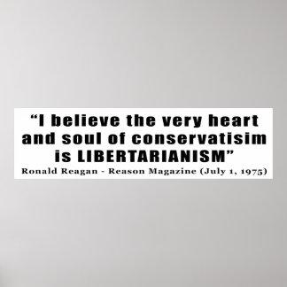 Cita libertaria del conservadurismo de Ronald Reag Póster