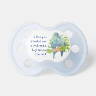 Cita linda del amor con los pájaros de abrazo chupete de bebé