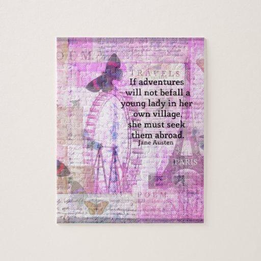 Cita linda del viaje de Jane Austen con arte Rompecabeza
