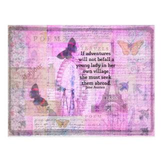 Cita linda del viaje de Jane Austen con arte Postal