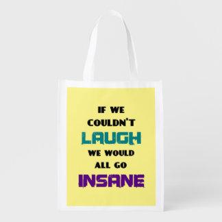 Cita linda divertida en risa y locura bolsa para la compra
