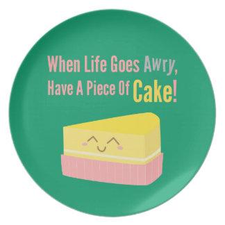 Cita linda y divertida de la vida de la torta platos para fiestas