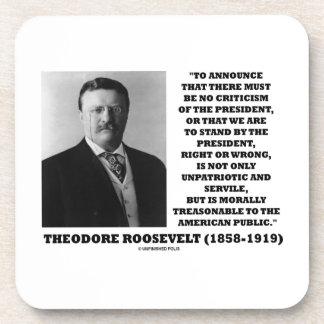 Cita moral traidora de Theodore Roosevelt Posavasos De Bebidas