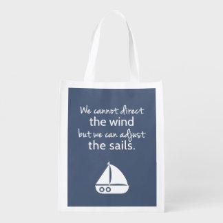 Cita náutica del barco de vela del modo de pensar bolsas para la compra