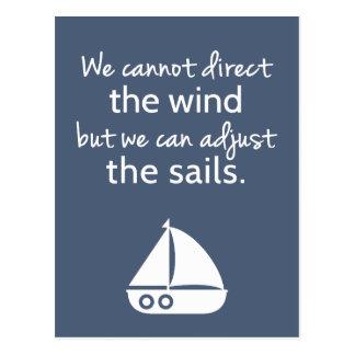 Cita náutica del barco de vela del modo de pensar postal
