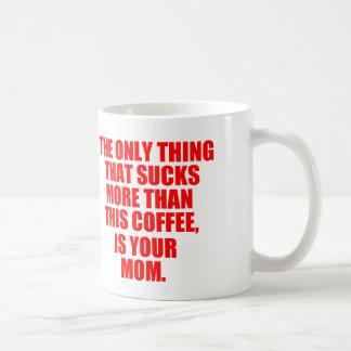 Cita ofensiva sobre su mamá taza básica blanca