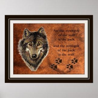 Cita original del lobo y del paquete de la acuarel impresiones