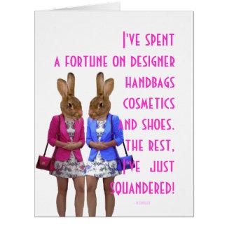Cita para mujer chistosa divertida de las compras tarjeta de felicitación grande