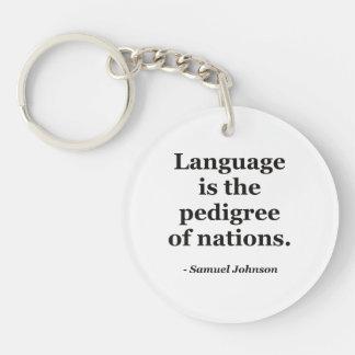 Cita pedigrí de las naciones de la lengua llaveros