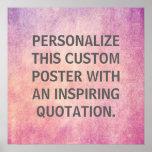 Cita personalizada, textura radiante de encargo de poster