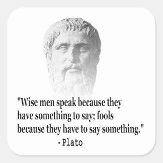 Cita por Platón Pegatina Cuadrada