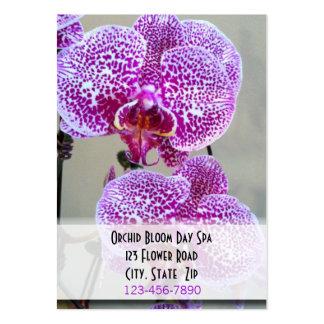 Cita púrpura abigarrada de la foto de la orquídea plantilla de tarjeta de negocio