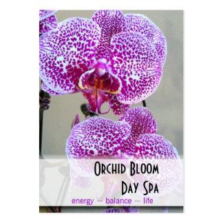 Cita púrpura abigarrada de la foto de la orquídea plantillas de tarjetas de visita