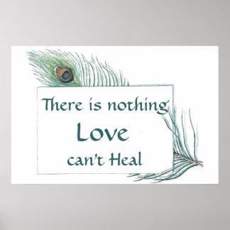 Cita retra del amor de la pluma del pavo real del póster