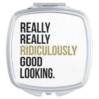 Cita ridículo apuesta del negro y del oro espejos de viaje
