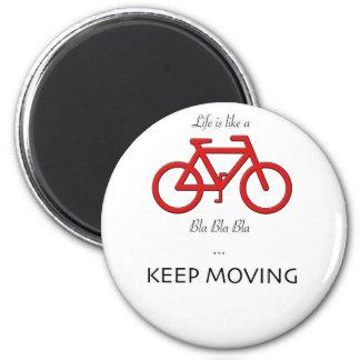 cita roja de la bicicleta imán redondo 5 cm