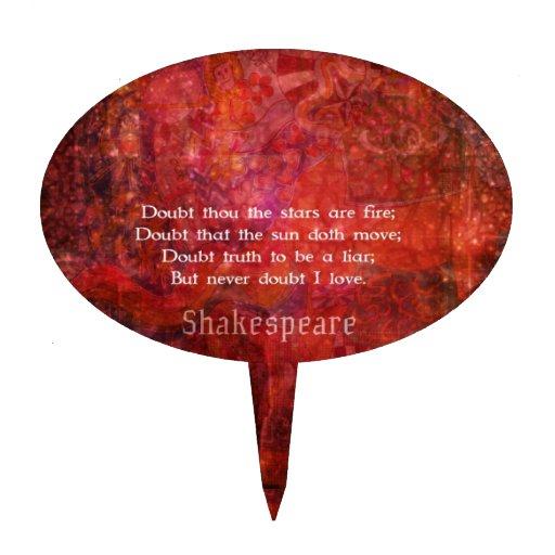 Cita romántica del AMOR de Shakespeare Palillos De Tarta