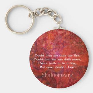 Cita romántica del AMOR de Shakespeare Llavero Redondo Tipo Pin