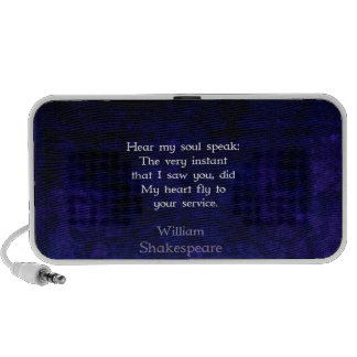 Cita romántica del amor de William Shakespeare iPhone Altavoz