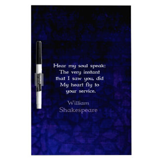 Cita romántica del amor de William Shakespeare Tablero Blanco