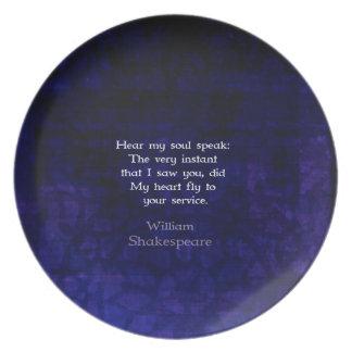 Cita romántica del amor de William Shakespeare Platos