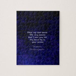 Cita romántica del amor de William Shakespeare Puzzles Con Fotos