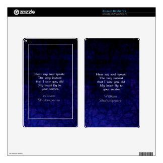 Cita romántica del amor de William Shakespeare Kindle Fire Pegatina Skin