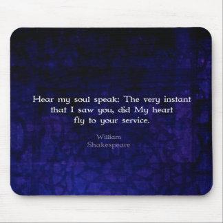 Cita romántica del amor de William Shakespeare Tapetes De Raton