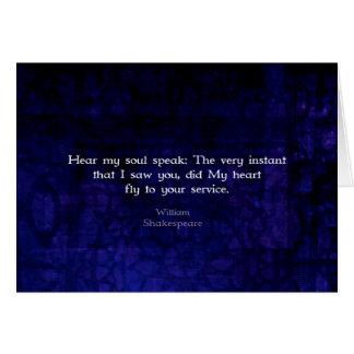 Cita romántica del amor de William Shakespeare Felicitaciones