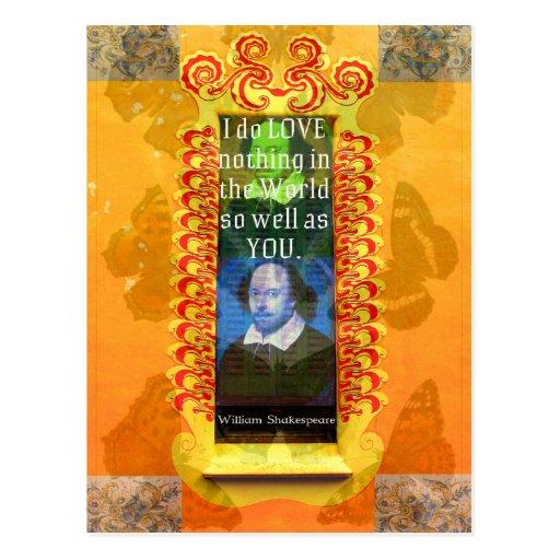 Cita romántica del AMOR de William Shakespeare Tarjeta Postal