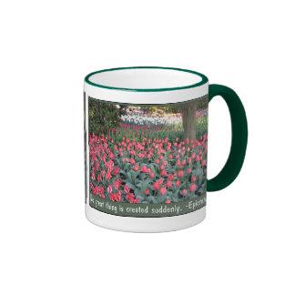 Cita rosada de Epictetus de los tulipanes Tazas De Café