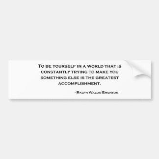 Cita sabia de Ralph Waldo Emerson Etiqueta De Parachoque