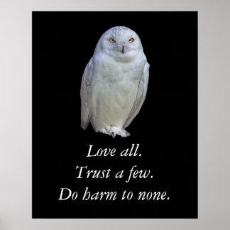 Cita sabia de Shakespeare del refrán del búho Póster
