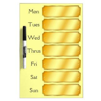 Cita semanal del falso del oro color metálico de pizarras blancas de calidad