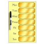 Cita semanal del falso del oro color metálico de S Pizarra
