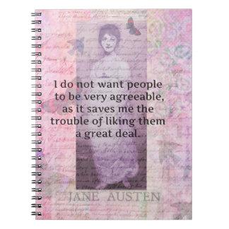 Cita snarky chistosa de Jane Austen Notebook