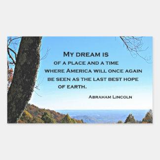 Cita sobre América de Abraham Lincoln Pegatina Rectangular